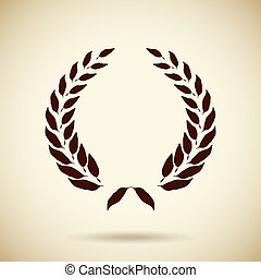 Vector circular laurel wreath - Vector silhouette foliate...