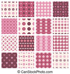 vintage floral patterns - set of seamless patterns in...