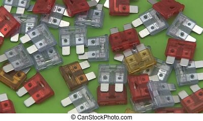 Assorted 12volt blade fuses - Close up of assorted 12volt...