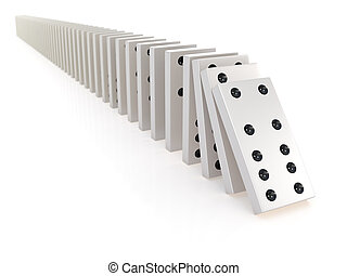 3d Row of white dominoes falling - 3d render of a row of...
