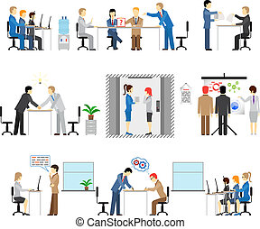 Illustrations of people working in an office with groups in...