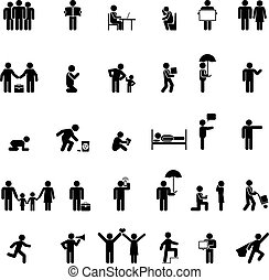 people in various poses - Vector people icons in various...
