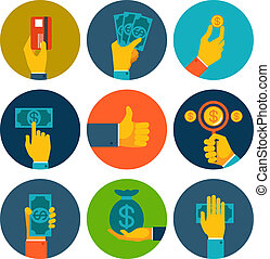 Set of colorful money in hands icons - Set of nine different...
