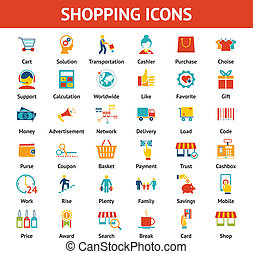 Colored Shopping Icons. Marketing and distribution, choices...