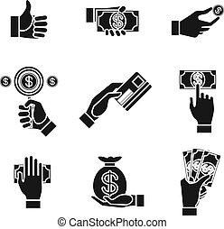 icons of hands holding money - Set of nine different black...