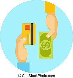 Hands exchanging payment or money in business concept with...