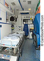 ambulance car interior with no people.