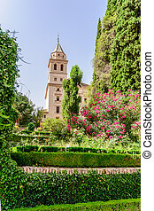 Tower of St. Mary Church, Alhambra of Granada/ Spain. 17th...
