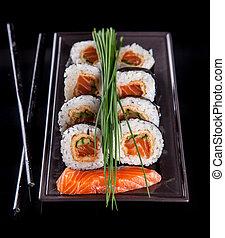 delicioso, Sushi, pedazos, negro, Plano de fondo