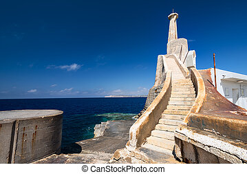 Near Marfa Harbour Malta gozo island on background -...