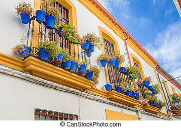 Streets in a white village of Andalucia, southern Spain -...