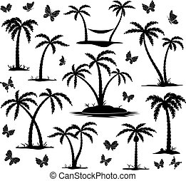 silhouettes of palm trees - vector silhouettes of palm trees...
