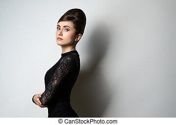 retro style girl in black clothes on white - retro style...