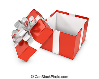 3d Red gift box open - 3d render of a red gift box open