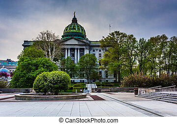 A plaza and the State Capitol in Harrisburg, Pennsylvania