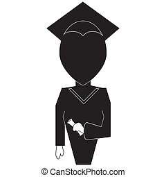 Graduation education icon in silhouette black on white...