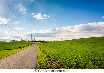 Country road through farm fields in rural York County,...
