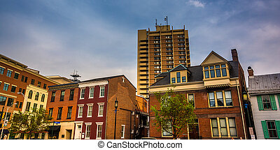 Buildings along State Street in Harrisburg, Pennsylvania. -...
