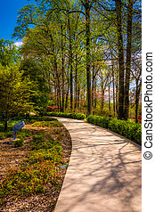 Path through gardens at the Washington DC Mormon Temple in...