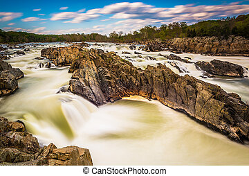 Long exposure of rapids in the Potomac River at Great Falls...