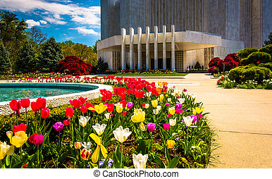 Gardens in front of the Washington DC Mormon Temple in...