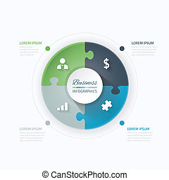 Blue and green puzzle piece circle business vector...