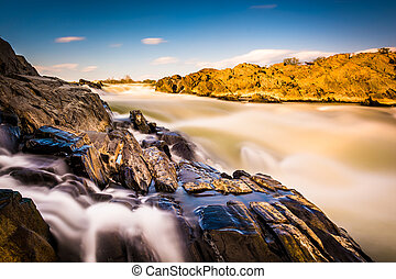 Long exposure of cascades on the Potomac River at Great...