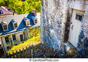 Old buildings in Harpers Ferry, West Virginia. - Old...