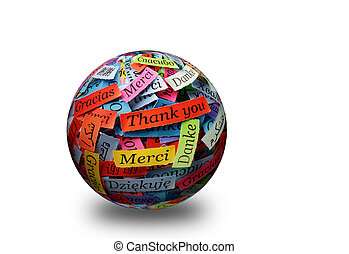 Thank You 3d spere - Thank You Word Cloud printed on...