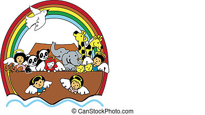 Noah's Ark - child version of noah;s ark, vector, spot...
