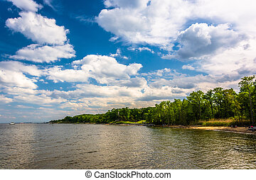 The shore of the Chesapeake Bay at Downs Park, in Pasadena,...
