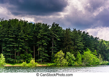 Storm clouds over the shore of Loch Raven Reservoir in Baltimore