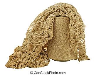 woolen threads - hank (bobbin) of woolen threads on a white...