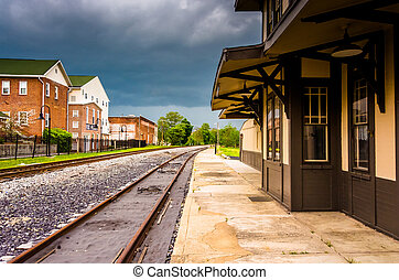 The historic train station in Gettysburg, Pennsylvania. -...