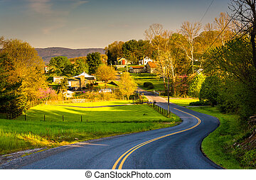 Windy country road in the Shenandoah Valley, Virginia. -...