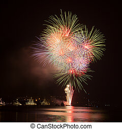 Fireworks in the night sky over water