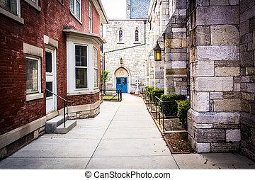 Walkway between two buildings in Harrisburg, Pennsylvania. -...