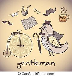 Ilustración, pájaro, caballero, attributes,...