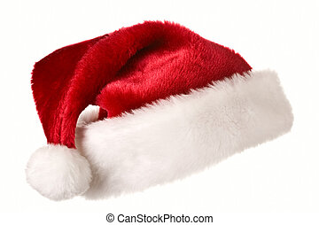 Santa hat isolated on white - Santa\'s red hat isolated on...