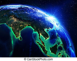 land area in India, China and Indonesia the night