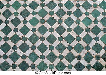 grön, mosaik, golv