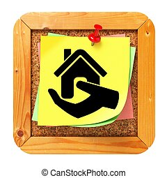 Home in Hand Icon. Sticker on Message Board.