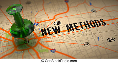New Methods - Green Pushpin on a Map Background. - New...