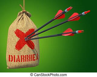 Diarrea, -, flechas, golpe, rojo, marca, blanco