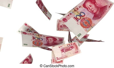 Falling Yuan (Loop on White) - Falling Chinese Yuan bills...