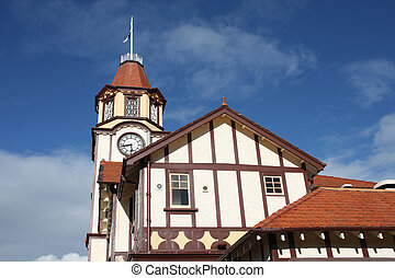 Rotorua town hall. Old architecture in New Zealand.