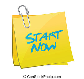start now post message illustration design over a white...