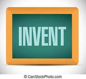 invent message on a blackboard illustration design over a...