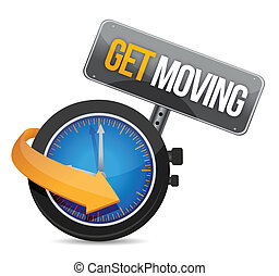 get moving watch sign illustration design over a white...