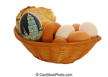 crib with easter eggs - crib with a easter eggs and bread